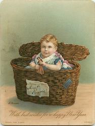 child in basket holds doll, basket has sign in front, lid open to back