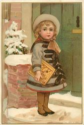 child with book in right arm standing on doorwtep