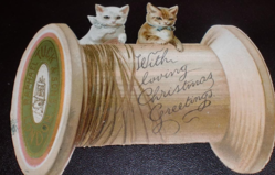two cats play on spool of cotton