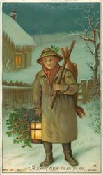 boy carrying dead rabbit over shoulder with one hand and lantern and holly with the other