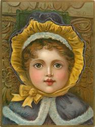 child with blue cape and yellow trim to hat