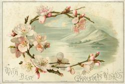 mountain and lake inset into half wreath of pink blossoms