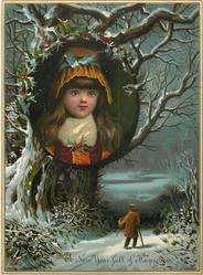 girl wearing hat with a blue bow inset into wintry tree scene, person with cane and basket walks on lane below