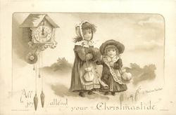 two girls in winter coats, hats, and with purses walk, cuckoo clock to upper left