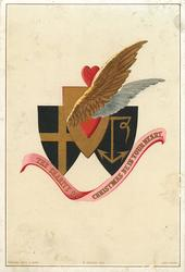 three crests, one blue with cross, one with anchor, one with wings and heart