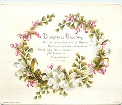 pink and white flowers in wreath shape