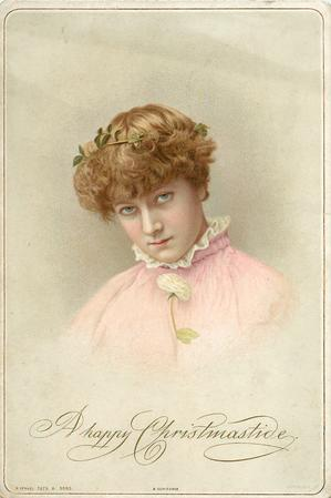 portrait of girl in pink dress with white ruffled lace collar