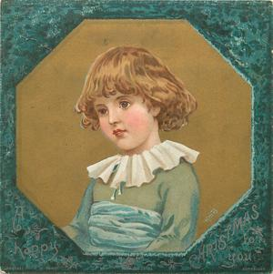 child in green top with blue sash and white frilly collar