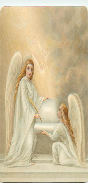 angel stands and writes on scroll held by angel on one knee