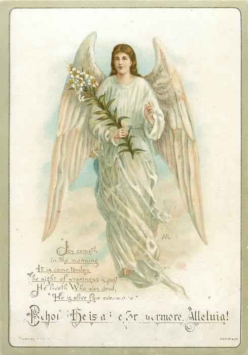 angel holds flower stem in her right hand