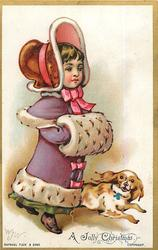girl dressed as gentlewoman with hat and muff, dog at side