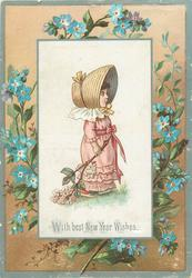 girl in pink dress and white hat with flowers in her left hand, blue flowers in floral border