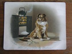 GREAT EXPECTATIONS, collie dog waiting in front of a fire