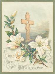 cross with branch of white flowers