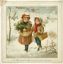 girl and boy each hold holly and walk together