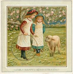 two girls stand under blossom tree, one holds hoolahoop and attempts to feed sheep