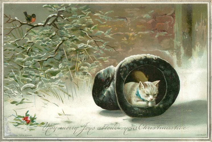 white cat lying inside a fallen black top hat