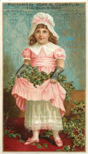 girl in pink and white dress holds apron full of ivy