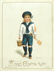 child in blue and white sailor suit carrying shovel and pail