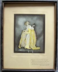 lady in yellow and white gown holding masquerade glasses in her left hand