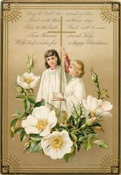 choirboys holding cross, floral display to base