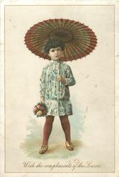 child with parasol over her left shoulder and bouquet of flowers in her right hand