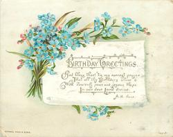 blue and pink flowers around greeting tag