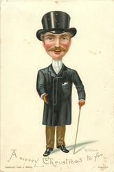 gentleman in black coat and top hat with cane in his left hand