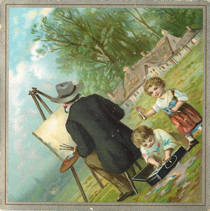 man painting with canvas on easel, two children play with his paints behind his back