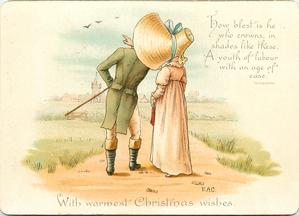 sunbonnet girl with long pink dress beside gentleman in green coat pointing to birds in sky