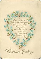 CHRISTMAS GREETINGS heart shaped blue and pink flower wreath