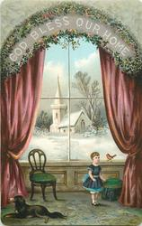 child in window, robin on ledge, view of church outside