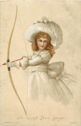 girl in white hat and dress holds bow cocked with arrow