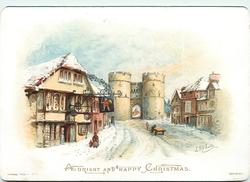 woman and child walking outside of pub, horse and cart on roadway leading to tower gate