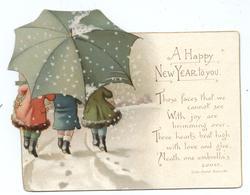 three children walk away large under umbrella