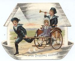 two boys in blue sailor suits with girl in wheeled cart
