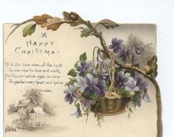 purple flowers in basket hang from tree branch, small vignette of house in lower left