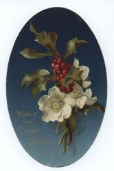 white flowers with holly berries and leaves