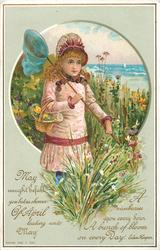 girl in pink dress and hat with butterfly net