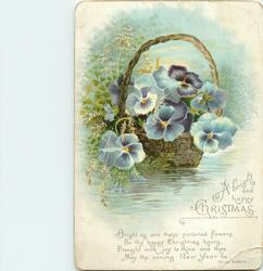 purple pansies in basket float on stream