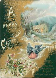 bird flies with ribbon in mouth, bunch of holly below and winter water mill scene above