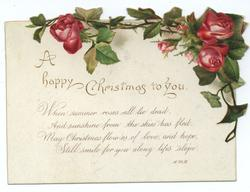 red roses on stems across top of card