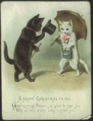 black cat with top hat greets white cat with pink bow and purse