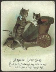 lady cat in carriage being greeted by gentleman cat on hind legs