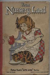 FROM NURSERY LAND girl crouching down holding pitcher and watching cat drink from bowl