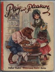 PLAY AND PLEASURE dog and cat washing dishes while young girl watches