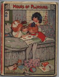 HOURS OF PLEASURE four young girls reading a blook