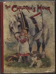 THE CHILDREN'S HOUR little girl and dog beside large white plow horse