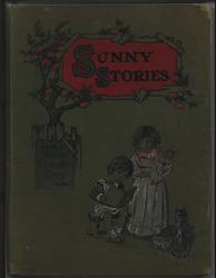SUNNY STORIES little boy sits and reads, little girl stands holding doll, cat looks on