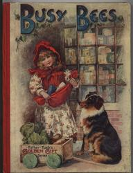 BUSY BEES little girl with red apron full of groceries, collie dog sits beside her